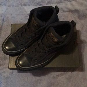 Size 8.5 men's,10.5 ladies converse black/charcoal